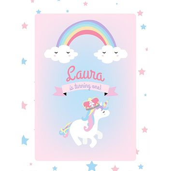 Custom Unicorn Rainbow and Stars Pastel Theme Birthday Backdrop (Any Color) Background - C0267
