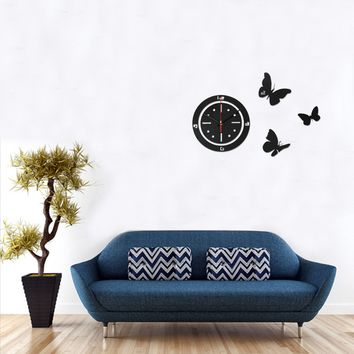 DIY Butterfly Acrylic Mirror Round Wall Clock Time Sticker Home Office Art Decor