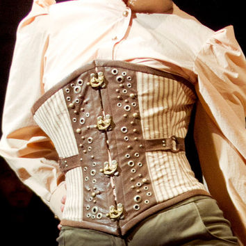 Steampunk steel boned underbust corset with brass accents