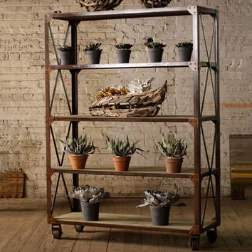 Rolling Shelving Unit in Iron and Wood