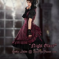 """Night Glory"": Gothic Lolita Skirt Part Bustle Tiered Sleeveless Dress*3colors - fanplusfriend"
