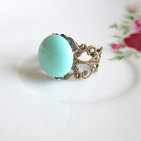Mint Ring Mint Green Ring Pale Green Cameo Ring Soft Pastel Green Aqua Tiffany Blue Mint Pale Turquoise Ring - Liz Bennet Ring
