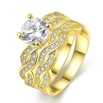 Gold Color Filled Clear CZ Diamond Engagement Ring