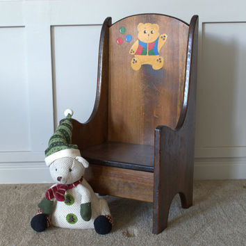 Dark Wood Child's Chair, Wooden Chair for Kids with Bear Motif