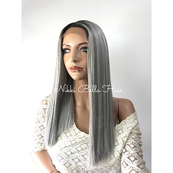 Grey Ombre' straight lace front wig 20'