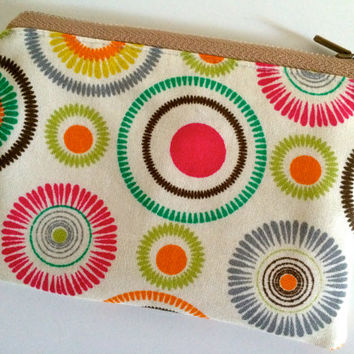 Coin Purse Coin Bag Small Cosmetic Clutch in Pink Circle Tie Dye