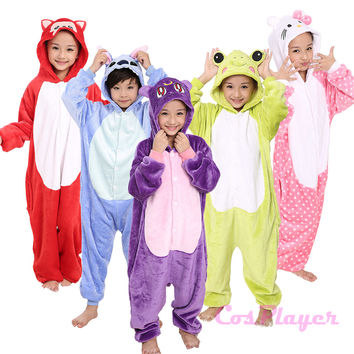 2016 Winter Children Halloween Gifts Funny Animal Pyjamas Hot Cartoon Characters Costumes Warm Flannel Onesuits Animal Pajamas
