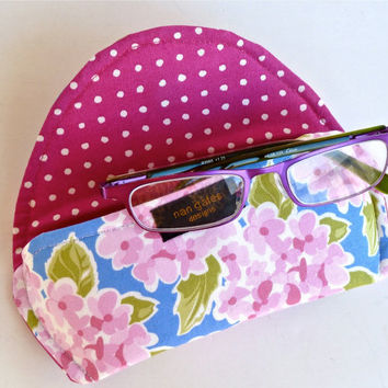 Fabric Eyeglass Case Magnetic Closure Hydrangea Floral