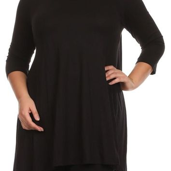 Plus Size Women's Trendy Style 3/4 Sleeves Solid Tunic TopPlus Size Women's Trendy Style 3/4 Sleeves Solid Tunic Top