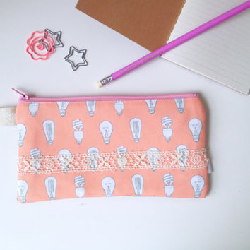 Light Bulbs Divided Pencil Case (handmade philosophy's pattern)