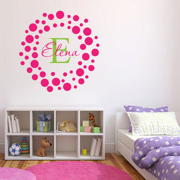 Personalized Polka Dots and Custom Name Vinyl Wall Words Decal Sticker