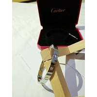 Authentic Cartier Love Bangle 4 Diamonds 18K White Gold Size 19 - New Screw Syst