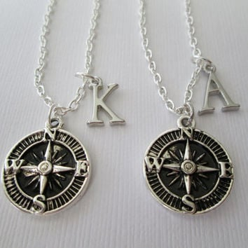2 Compass Initial, Best Friend Necklaces.