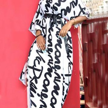 New White Letter Pattern One Shoulder Irregular Sashes 3/4 Sleeve Casual Maxi Dress