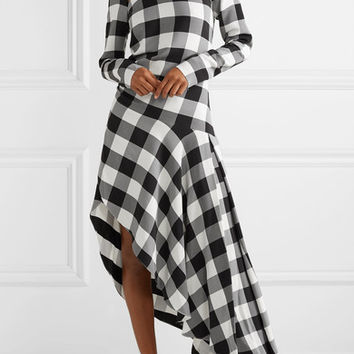 Monse - Asymmetric gingham crepe de chine midi dress