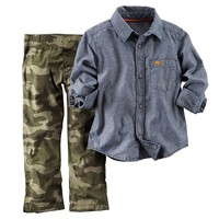 Carter's Chambray Button-Down Shirt & Camo Pants Set - Baby Boy, Size: