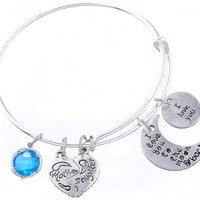 Encounter I Love You to the Moon and Back Mother Daughter March Bithstone Wire Bangle Charm Bracelet