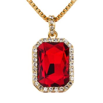 Men's Trendy Iced Out Hip Hop Pendant Necklace Jewelry Gold Color Red black micro pave Big Square Stone Pendant Necklace #910
