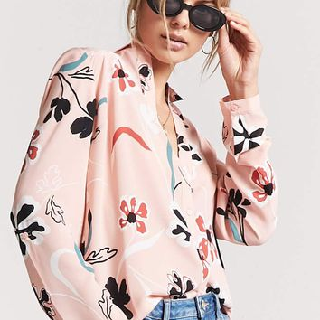 Floral Chiffon High-Low Shirt