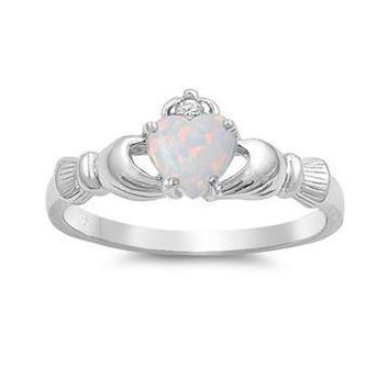 649b9b605 Sterling Silver Created White Opal Heart Claddagh Crown Ring