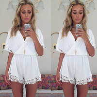 White Chiffon V-neck Sexy Lace Jumpsuit