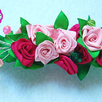 Kanzashi Flower  , pink ribbon roses , french barrette clip ,ribbon rose kanzashi flower hair accessory
