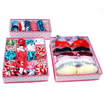Foldable Non-Woven Storage Boxes Sets Drawer Dividers Closet Organizer For Underwear Bra  Shorts Socks Ties