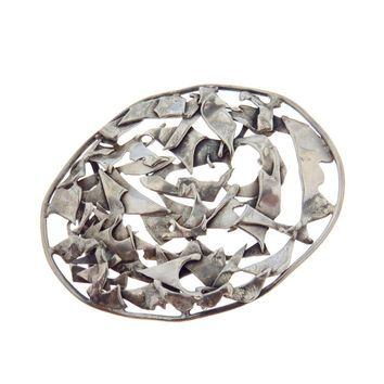 Modernist Sterling Silver Belt Buckle Large Oval