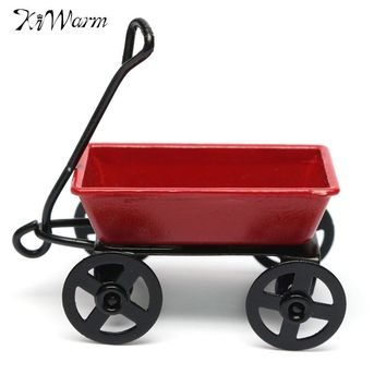 Kiwarm Cute Dollhouse Metal Miniature Metal Red Small Pulling Cart Garden Furniture Accessorie Toy For Home Decor Gift Ornament