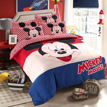 Mickey Mouse Adult Duvet Cover Set Twin Single Double Size Bedding Set for Children Bedroom Decor Bed Size 1.2m 1.35m 1.5m