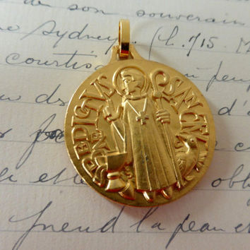 Vintage French St Benedict Gilt Medal, Pendant, SHIPPING INCLUDED