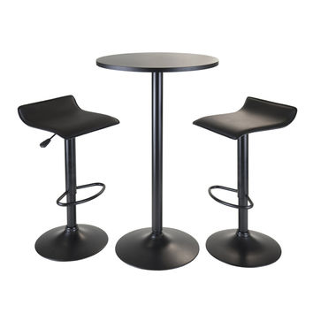 Obsidian 3pc Pub Set, Round Table with 2 Airlift Stools All Black by Winsome Woods