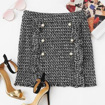 Pearl Button Trim Tweed Skirt