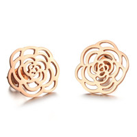 The new rose gold plated titanium steel fashion camellia stud earrings