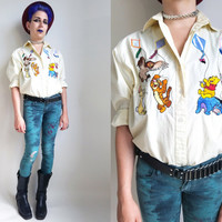 90s Clothes 1990s Disney Shirt Vintage Winnie the Pooh Shirt Embroidered Disney Blouse Yellow Disney Blouse Tigger Piglet Owl Eeyore Rabbit