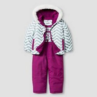 Toddler Girls' Stevies Zig Zag Print 2-Piece Jacket and Snow Bib Overalls Set Grey/White