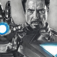 Drawing of Iron Man (Robert Downey Jr.) from Avengers