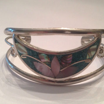 Vintage Alpaca Silver Green Mother of Pearl Inlay Cuff Bracelet Mexico Jewelry