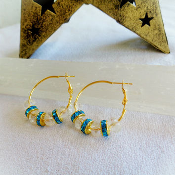 Bohemian Gold Plate Faceted Crystal Bead 'Solstice' Earrings ~ Clear Beads w Teal Sparkle Spacers ~ Mother's Day Gift for Sea Sunshine Lover