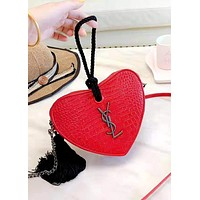 Free shipping-YSL 2019 new female crocodile embossed clutch red