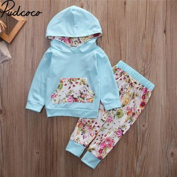 2017Xmas Baby 2pcs Spring Autumn baby girls christmas outfits children hoodies Floral pants clothes sets Sport suit clothing set