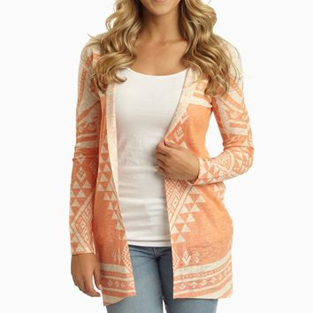 Peach Beige Tribal Print Hooded Cardigan