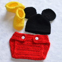 Baby Boy Mickey Mouse Crochet Outfit - Newborn Halloween Costumes - Mickey Mouse Outfit
