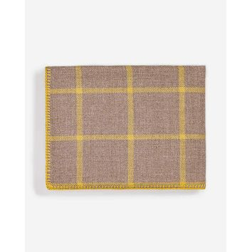 Graydon Alpaca Throw in Taupe and French Yellow