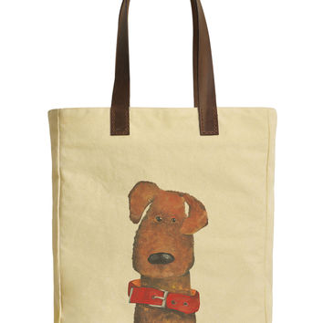 Cute Funny Dog-1 Beige Printed Canvas Tote Bags Leather Handles WAS_30