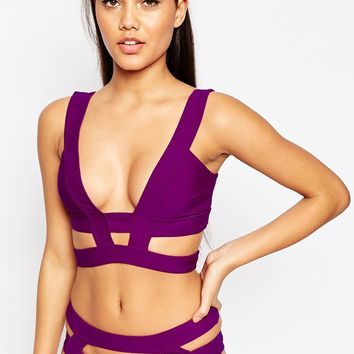 ASOS Neoprene Cut Out Caged Bikini Top at asos.com