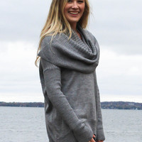 Warm and Toasty Cowl Neck Sweater - Gray