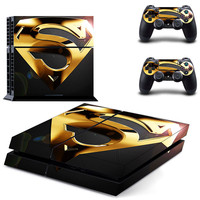 Superman Vinyl Skins Sticker for Sony PS4 PlayStation 4 and 2 Controllers Skins Cover DPTM0332