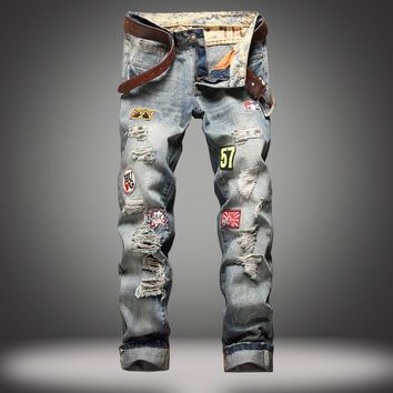 Ripped Holes Weathered Jeans [10366807555]