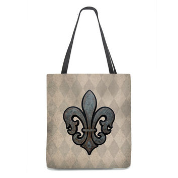 Rusty Fleur de Lis Tote Bag on rustic tan and taupe harlequin background